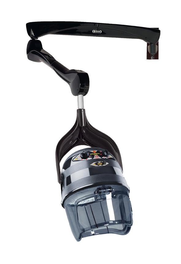 Dryer hood Equator 3000 with wall bracket, black, 2 speeds